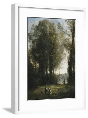 Picking Daisies-Jean-Baptiste-Camille Corot-Framed Giclee Print