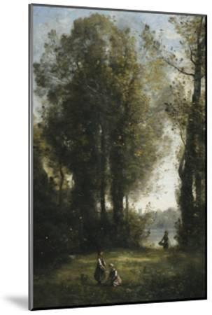 Picking Daisies-Jean-Baptiste-Camille Corot-Mounted Giclee Print