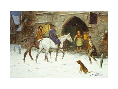 Travellers Entering the Courtyard of an Inn in Winter-George Wright-Framed Giclee Print