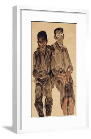 Two Seated Boys-Egon Schiele-Framed Giclee Print
