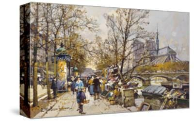 The Rive Gauche, Paris with Notre Dame beyond-Eugene Galien-Laloue-Stretched Canvas Print