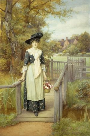 A Country Beauty-Charles Edward Wilson-Stretched Canvas Print