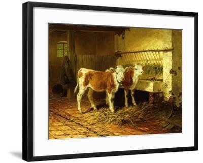 Two Calves in a Barn-Walter Hunt-Framed Giclee Print