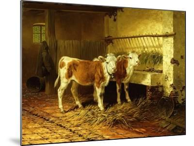Two Calves in a Barn-Walter Hunt-Mounted Giclee Print