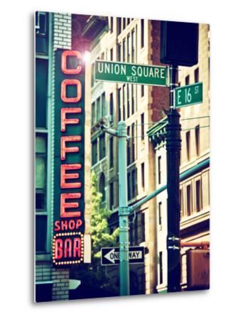 Coffee Shop Bar Sign, Union Square, Manhattan, New York, United States-Philippe Hugonnard-Metal Print