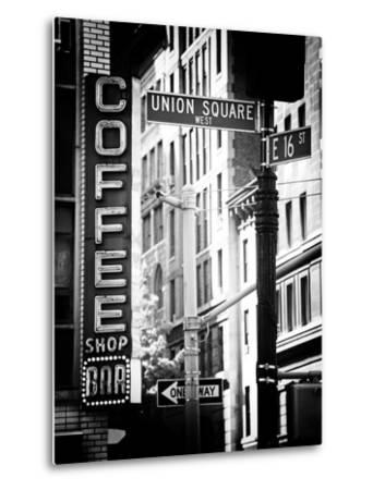 Coffee Shop Bar Sign, Union Square, Manhattan, New York, US, Old Black and White Photography-Philippe Hugonnard-Metal Print