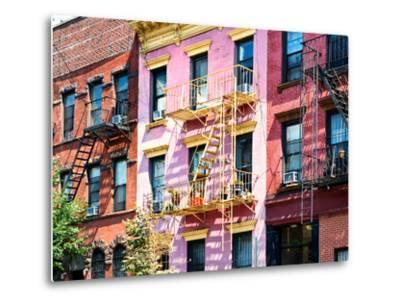 Colorful Buildings with Fire Escape, Williamsburg, Brooklyn, New York, United States-Philippe Hugonnard-Metal Print
