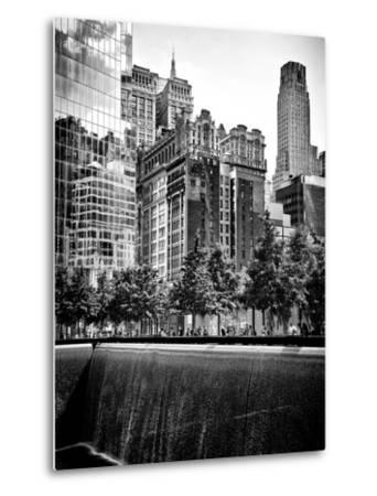 Architecture and Buildings, 9/11 Memorial, 1Wtc, Manhattan, NYC, USA, Black and White Photography-Philippe Hugonnard-Metal Print