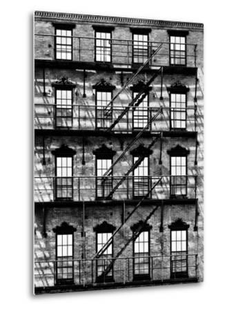 Building Facade in Red Brick, Stairway on Philadelphia Building, Pennsylvania, US-Philippe Hugonnard-Metal Print