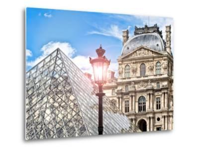 View of the Pyramid and the Louvre Museum Building, Paris, France, Europe-Philippe Hugonnard-Metal Print
