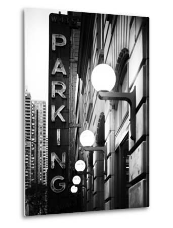 Garage Parking Sign, W 43St, Times Square, Manhattan, New York, US, Black and White Photography-Philippe Hugonnard-Metal Print