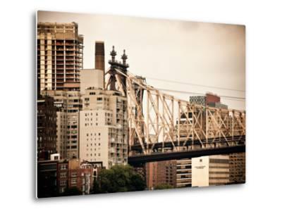 Ed Koch Queensboro Bridge, Roosevelt Island Tram Station, Manhattan, New York, Vintage-Philippe Hugonnard-Metal Print