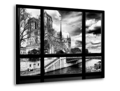 Window View, Special Series, Notre Dame Cathedral, Seine River, Paris, Black and White Photography-Philippe Hugonnard-Metal Print