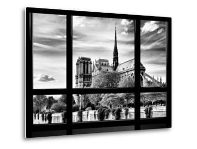 Window View, Special Series, Notre Dame Cathedral View, Paris, Europe, Black and White Photography-Philippe Hugonnard-Metal Print