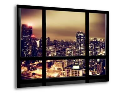 Window View, Urban Landscape by Night, Misty View, New Yorker Hotel View, Midtown Manhattan, NYC-Philippe Hugonnard-Metal Print