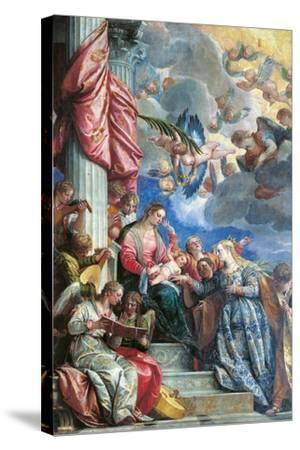 The Mystic Marriage of St Catherine-Veronese-Stretched Canvas Print