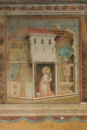 The Prayer Before the Crucifix of St Damian-Giotto di Bondone-Stretched Canvas Print