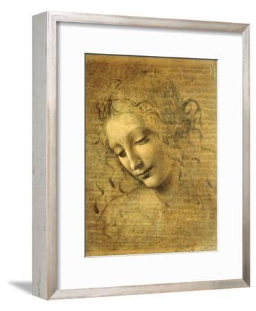Head of a Young Woman La Scapigliata (the Lady of the Disheveled Hair)-Leonardo da Vinci-Framed Premium Giclee Print