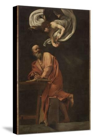 St. Matthew and the Angel-Caravaggio-Stretched Canvas Print