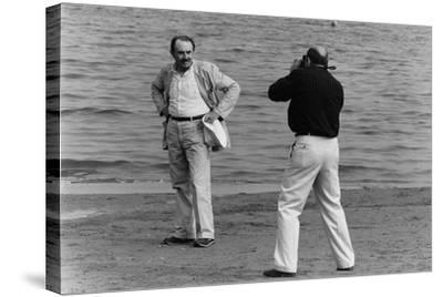 Tonino Guerra Poses before a Photographer at the Seaside--Stretched Canvas Print