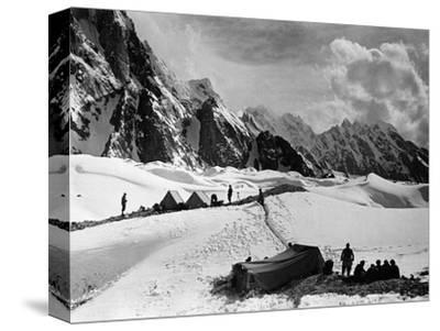 The Tents of the Hunza and of the Italian Alpinists of the Ascent of K2 at Concordia Camp--Stretched Canvas Print