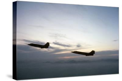 Two Fighter Planes Lockheed F-104 Starfighter in Flight--Stretched Canvas Print
