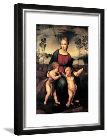 Madonna with Child and the Infant John the Baptist (Madonna of Goldfinch)-Sanzio Raffaello-Framed Giclee Print