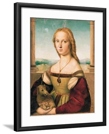 Portrait of a Young Woman (Lady with a Unicorn)-Raffaello Sanzio-Framed Giclee Print