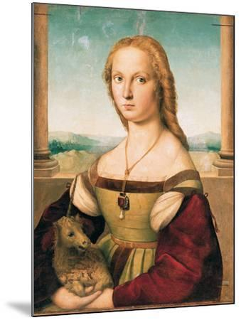 Portrait of a Young Woman (Lady with a Unicorn)-Raffaello Sanzio-Mounted Giclee Print