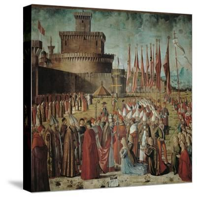 Legend of St Ursula. the Pilgrims Meet the Pope Under the Walls of Rome-Vittore Carpaccio-Stretched Canvas Print