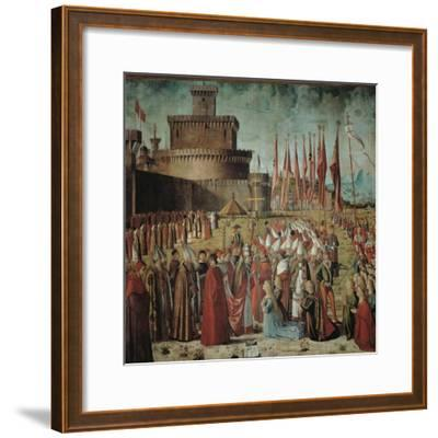 Legend of St Ursula. the Pilgrims Meet the Pope Under the Walls of Rome-Vittore Carpaccio-Framed Giclee Print