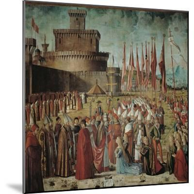 Legend of St Ursula. the Pilgrims Meet the Pope Under the Walls of Rome-Vittore Carpaccio-Mounted Giclee Print