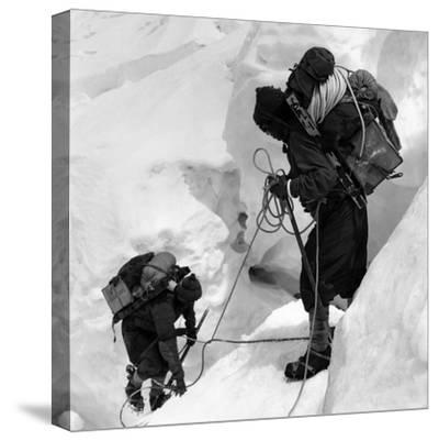 Alpinists Roped Together on the Mount Everest--Stretched Canvas Print