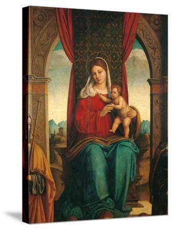 Madonna and Child with Saints James of Galicia and Helena-Niccol Bartolomeo-Stretched Canvas Print