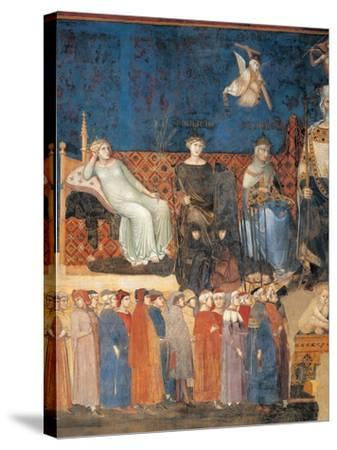 Allegory of Good Government (detail)-Ambrogio Lorenzetti-Stretched Canvas Print