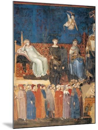 Allegory of Good Government (detail)-Ambrogio Lorenzetti-Mounted Art Print