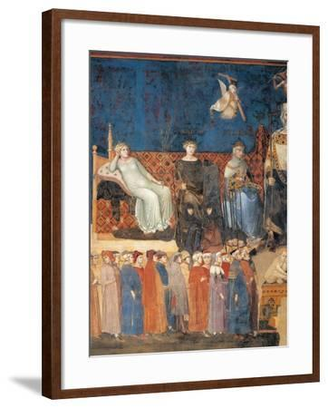Allegory of Good Government (detail)-Ambrogio Lorenzetti-Framed Art Print