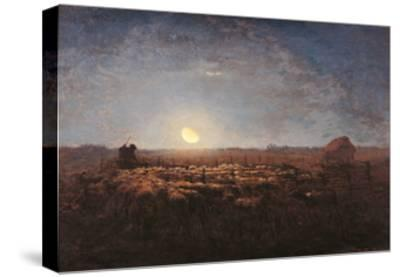Sheep Meadow, Moonlight-Jean-Fran?ois Millet-Stretched Canvas Print