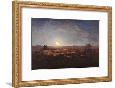 Sheep Meadow, Moonlight-Jean-Fran?ois Millet-Framed Art Print
