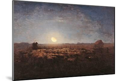 Sheep Meadow, Moonlight-Jean-Fran?ois Millet-Mounted Art Print