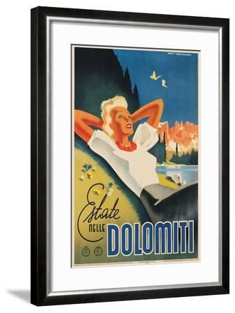 Travel Poster for the Italian Dolomites-Franz Lenhart-Framed Art Print