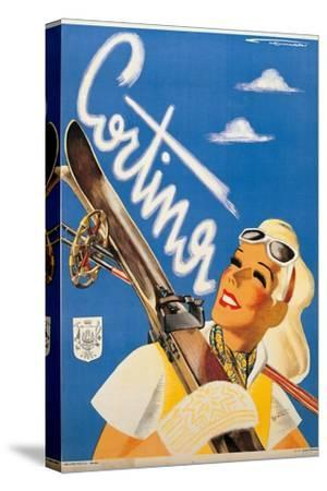 Poster Advertising Cortina d'Ampezzo-Franz Lenhart-Stretched Canvas Print