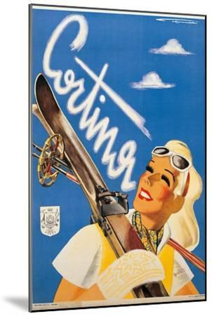Poster Advertising Cortina d'Ampezzo-Franz Lenhart-Mounted Premium Giclee Print