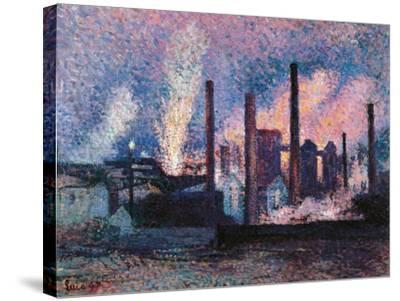 Steelworks near Charleroi-Maximilien Luce-Stretched Canvas Print