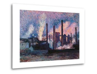Steelworks near Charleroi-Maximilien Luce-Metal Print