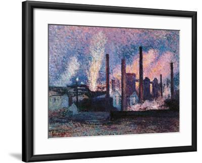 Steelworks near Charleroi-Maximilien Luce-Framed Art Print