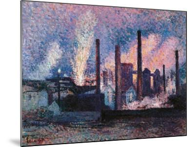 Steelworks near Charleroi-Maximilien Luce-Mounted Art Print