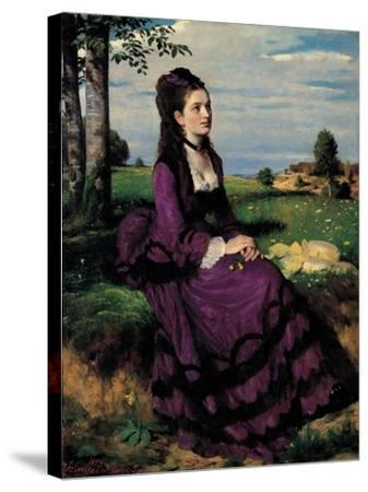 Portrait of a Woman in Lilac-Pal Szinyei Merse-Stretched Canvas Print