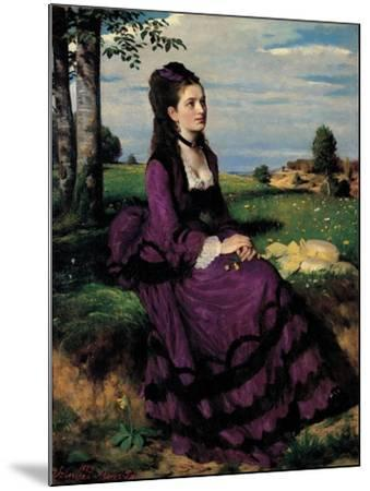 Portrait of a Woman in Lilac-Pal Szinyei Merse-Mounted Art Print