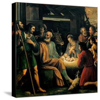 Nativity and the Adoration of the Shepherds-Giuseppe Vermiglio-Stretched Canvas Print